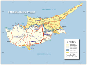 Cyprus physical geography cyprus and mexico political map of cyprus sciox Gallery